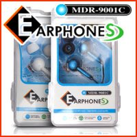 EAPRHONES MDR-9001C earphone / Asymmetrical cable / 2 Color / silicon ear caps provided / white, blue / Hard Case Packaging