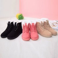 Fashion Women Boots Flat Ankle Lace Up Fur Lined Winter Warm Snow Shoes
