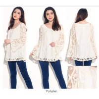 ALF Blus Pesta Branded BIGSIZE | Long Sleeves Lace Blouse
