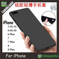 Case Slim Black Matte iPhone 5 6 6Plus 7 7Plus 8 8Plus Softcase Back