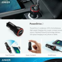 Anker PowerDrive 2 Dual USB Car Charger Fast Charging QC 3.0 Original