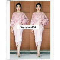 [magaly lace pink RO] dress wanita brukat pink