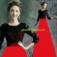 Dress merah imlek red / sinchia / gaun pesta / 2 ukuran BROKAT fit XL