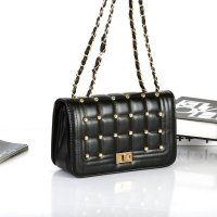 KGS Tas Wanita Pesta Formal Golden Dots Clutch Shoulder Bag Hitam