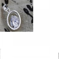 Kalung 925 Silver Sterling Cubic Zirconian Round Pendant Necklace