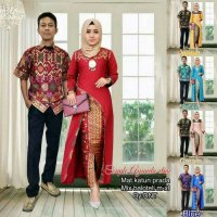 BATIK COUPLE SARIMBIT SERAGAM PESTA HIJAB BAJU MUSLIM GAMIS LONG DRESS