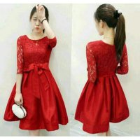 Dress (M - Fit L) ERICA Red - Wedges Brokat Furing - GOOD QUALITY >