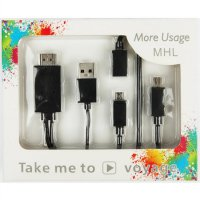 MHL Kit to HDMI Cable Adapter HDTV Video Output Micro USB Kabel
