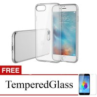 Case for Apple iPhone 7 - Clear + Gratis Tempered Glass - Apple Ultra Thin Soft Case