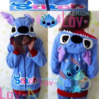 JAKET STITCH HUG SCRUMP CUTE EAR SWEATERHOODIE MANTEL CEWE COWO COUPLE