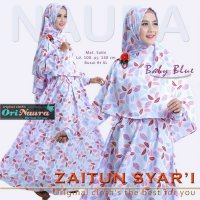 Ori Naura / Gamis Saja / Zaitun Dress / Baby Blue / Mat dress satin maxmara