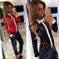 Sexy Womens Lapel Blouse Long Sleeve Lace Top Loose Shirt