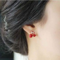 ANTING 0275B7r Lovely Red Cherry Ear Clip No Needle Red