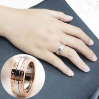 CINCIN 02797Fr Titanium Steel Rose Gold Ring Fashion Rose Gold