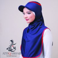 Hijab Instant Sport Long Runner - Navy Red