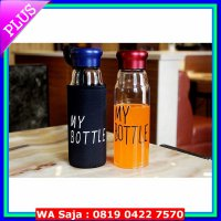 Bottles My Bottle Glass Infused Botol Minum bahan Kaca + pouch(sarung) imut