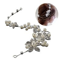 Hot Sell Luxury Silver Wedding Flower Hair Clip Comb Women Jewelry