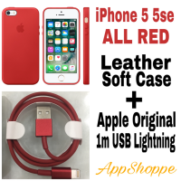 iPhone 5 5s SE LEATHER CASE and 1m USB LIGHTNING CABLE RED
