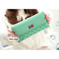 Korean Ribbon Wallet GREEN (Dompet banyak sekat, Korean style)