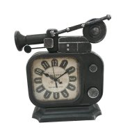 Vintage Retro Old TV Radio Shape Iron Metal Table Clock (Jam Meja)/ LNS29