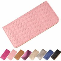 Women Lady Weave Coin Purse Card Holder Long Thin Wallet