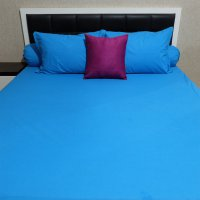 Sleep Buddy Set Sprei Plain on Blue CVC Single Size