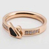CINCIN 027ACBr Titanium Shells Zircon Rings Lovely Swan Women Rosegold