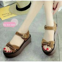 WEDGES TALI FASHION P20 READY COKLAT HITAM CREAM