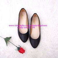 SEPATU WANITA FLAT SHOES MARINA BLACK BIG SIZE 34 - 44 DUMBUM SHOES - Hitam, 41