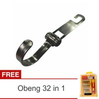 Lanjarjaya Stainless Steel Car Hanger Aksesoris Gantungan kursi jok Single kait diMobil+Obeng 32in1