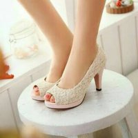 High Heels Peep Toe Brukat AR02 Cream