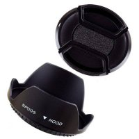 [globalbuy] 55mm 55 mm Plastic Standard Crown Petal Flower Lens Hood + Center Snap on cap/3780291