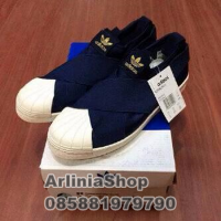 Sepatu adidas superstar slip on woman cewek navy premium high quality