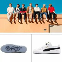 Sepatu sneakers PUMA X Korea BTS original import WHITE BLACK PINK - Putih, 36