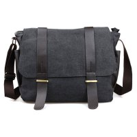 Tas Selempang Pria Korean Canvas Messenger Bag - Black/Gray