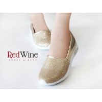 SEPATU CASUAL SNEAKER SHOES SLIP ON WANITA REDWINE EF403-2D HIGH QLTY
