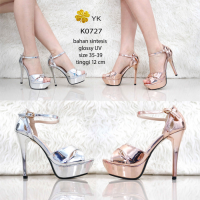 YKshoes 0727 high heels shoes wanita import 12cm strap silver gold