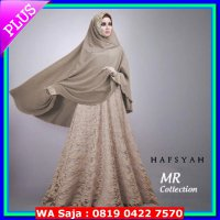 (Limited Offer) BAJU BUSANA MUSLIM GAMIS HAFSYAH SYARI MOCCA dress BRUKAT BERGO NO PED
