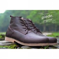 sepatu kulit coklat handmade leather casual pliable dark brown