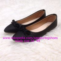 SEPATU WANITA FLAT SHOES QUINNY BLACK BIG SIZE 34 - 44 DUMBUM SHOES