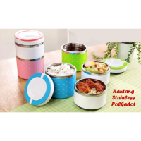 Rantang Susun 2 PUTAR Stainless Steel kedap Lunch Box polkadot