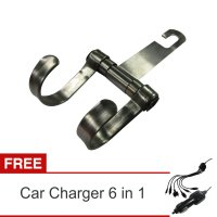 Lanjarjaya New Stainless Steel Car Hanger Aksesoris Gantungan kursi jok di Mobil+Car Charger 6 in 1