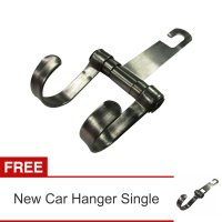 Lanjarjaya New Stainless Steel Car Hanger Aksesoris Gantungan kursi jok diMobil+Car Hanger SIngle SS