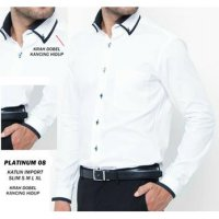 Kemeja Casual Fashion Slimfit Putih Panjang - Long Shirt NF Platinum 08