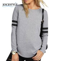 [globalbuy] New Fashion Top Shirt Hot Boohoo Womens Shona Baseball Long Sleeve Striped Top/4221724