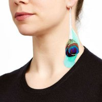 ANTING 02757Ar Natural Long Peacock Feather Earrings Light Blue