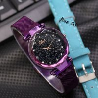 Jam Tangan Wanita Murah Dior Magnet Pasir SK225 Purple + Leather Blue