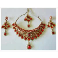 kalung set india red necklace set