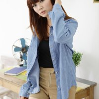 Wash denim shirt / T3304 Color Shirt Long Sleeve Denim Shirt Long Zheng Southern Girl