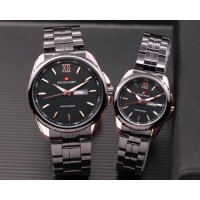 Jam Tangan Swiss Army Couple Murah SK1200 Rantai Black Rosegold